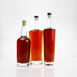 무료 샘플 맞춤형 라벨 로고 Super Flint 빈 음료 물 쥬스 밀크 와인 술 위스키 보드카 브랜디 200ml 500ml 750ml 유리 병