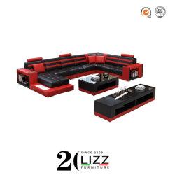 ヨーロッパの現代余暇の居間/Office L形の部門別の本革のホームコーナーのソファーの家具セット