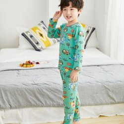 Neues Design Herbst Boutique Großhandel Milch Seide Cartoon-Muster Lang Ärmel Kinder Hauskleidung