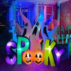 8FT de opblaasbare Spoken van Halloween met Griezelige LEIDENE van de Pompoen Aangestoken Decoratie Airblown voor Gazon