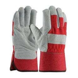 شركة هوتسيم الصناعية للبناء الصناعي Red Canvas Back Palm Split Cow Leather سلامة اللحام العمل الجلدي حفار قفازات اليد