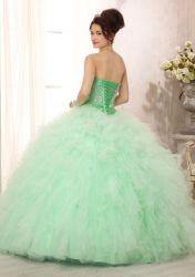 Gliter зеленый Quinceanera платья шарик платье с куртка тюль оборками Vestidos 15 Anos 16 сладкий платье