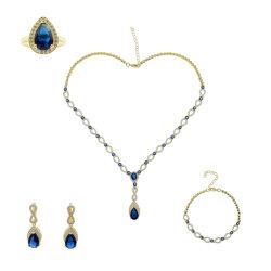 サファイアネックレスセットの方法宝石類の衣裳の付属品の工場資源
