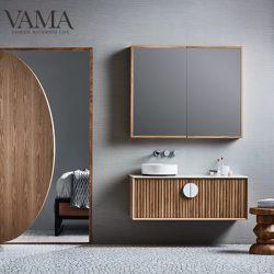 Vama 1200 mm de diseño moderno y nuevo de madera maciza de madera Australla armarios de baño Cuarto de baño de rizo con solo lavabo tocadores