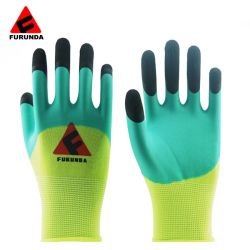 植わることのための補強された指を搭載する庭の手袋の乳液の上塗を施してある手袋