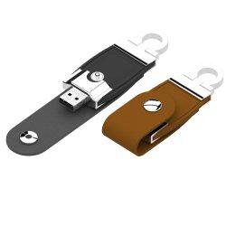 Stainless Steel Key Chain (UF014)の革USB Flash Drive