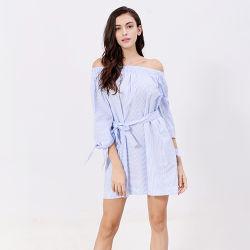 최신 판매 형식 여자 파란 면 우연한 날실 벨트 셔츠 복장