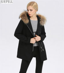Las mujeres de Europa cubra el nuevo largo invierno de la mujer con capucha de lana cuello Fur Fur Coat Mujeres
