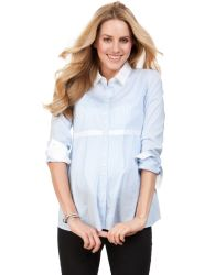 Femme du bureau de l'usure des chemises en coton stretch rayé de la maternité