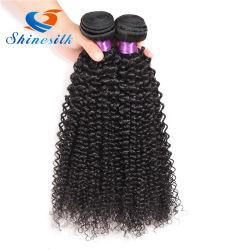 Colore naturale di tessitura riccio crespo dei gruppi dei capelli umani di estensioni dei capelli indiani grezzi delle donne di Afro 1/3/4 di parte 100g Non-Remy