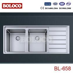 Évier de cuisine en acier inoxydable/bassin (R20 l'angle, double-bol avec carte de vidange) 1160*500mm BL-658