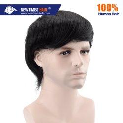 Base de polyuréthane de couleur noir hommes perruque naturelle des cheveux humains
