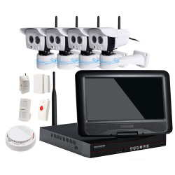 Alarme NVR Sem fio 1080P Kits de CCTV Câmara à prova de 4 canais com Sistema de Alarme do Detector sem fios