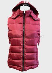 Дамы съемная бленда мягкий Стеганая куртка красного цвета без рукавов