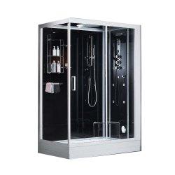 2 Personne 6 mm Noir Porte coulissante en verre trempé de haute qualité Cabinet de vapeur