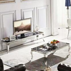 Tabella pranzante superiore di vetro dell'acciaio inossidabile dell'hotel del marmo moderno della mobilia