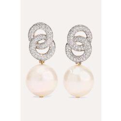 カスタム18K金のダイヤモンドの真珠のイヤリング925の銀製の宝石類