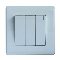 PC Material 3 pista 1 Forma de contacto con el interruptor de pared blanca de la luz de noche