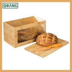 خيزرانيّ خشبيّة خبز طعام صندوق مع يليّن [غلسّ ويندوو] خبز [ستورج بين] مع [كتّينغ بوأرد] قاعدة