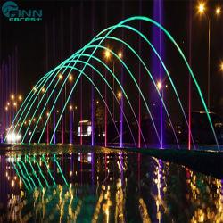 Jardín con piscina y la decoración de acero inoxidable coloridas luces chorro Laminar fuente