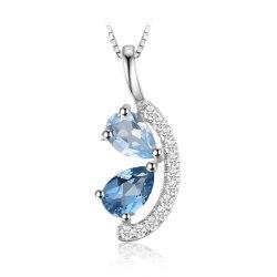 سماء اللون الأزرق توباز [سويسّ] زرقاء توباز عنقود مدلّاة 925 [سترلينغ سلفر] مجوهرات حجر كريم أصليّة