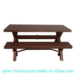 高品質のレーザーの木製の穀物の表面とセットされる屋外アルミニウムベンチの腰掛けの椅子のダイニングテーブル