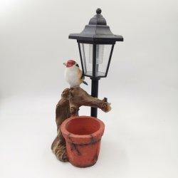 С высоты птичьего полета полимера Flower Pot с солнечной лампа украшения для установки вне помещений