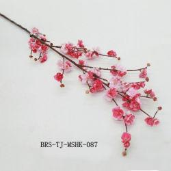 Haut de la soie artificielle de Simulation de prune et Cherry Blossom Flower Red Rose pour la maison de la tige de la décoration colorée