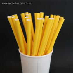 8mm*Customized使い捨て可能な生物分解性の黄色い飲むわら紙のわら