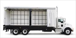 900GSM 26.5ozパナマの白い織り方のアクリルのラッカーを塗られた印刷できる貨物専用コンテナの側面のカーテンカバー