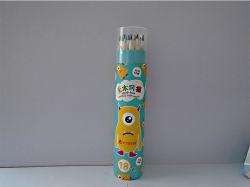 Os lápis de cor de plástico no cilindro