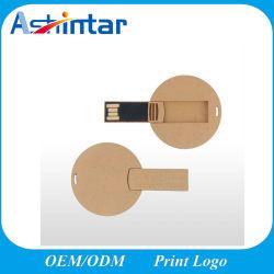 環境に優しい木材の USB フラッシュメモリ丸ネームカード USB スティック ロゴ印刷のサポート
