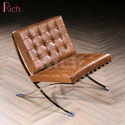 オフィスの金属の余暇の革ラウンジのリクライニングチェアデザイナーバルセロナのソファーの椅子