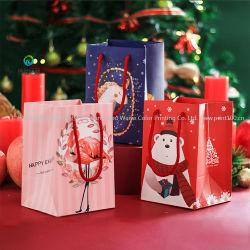 Commerce de gros présent colorés Shopping personnalisé Joyeux Noël d'impression papier sacs cadeaux
