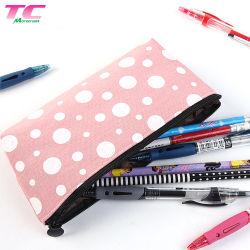 ドット・パターンが付いている大きい記憶の綿のキャンバスの鉛筆袋の学校のジッパーの筆箱