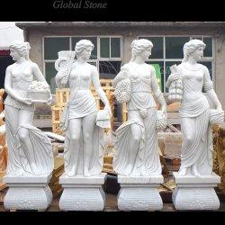 Vierjahreszeitengott-schnitzende Garten-Statue-Marmorskulptur