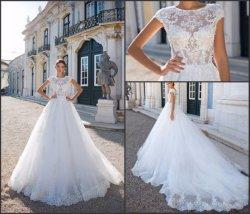A-Line устраивающих Gowns платья пользовательские рукава с кружевом свадебные платья 2021 A7034