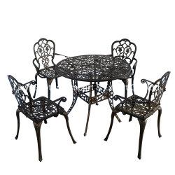 BBQのための屋外の家具の鋳造アルミのダイニングテーブルそして椅子
