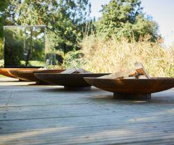 屋外のCortenの鋼鉄火ボール、卸し売りガス火ピット