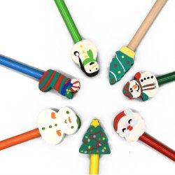 크리스마스 선물로 사용되는 맞춤형 인기 친환경 Hb Pencil Top 큰 모양의 크리스마스 지우개