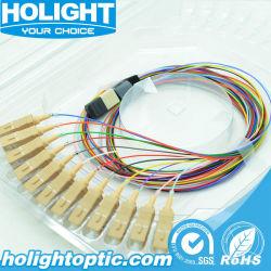Scのピグテールの光ファイバ接続のツールへの12のコアファイバーのジャンパーの光ファイバケーブルMPO