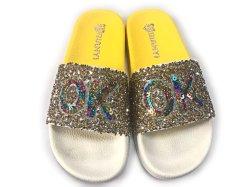 Pedra de acrílico de moda ODM descalça corrediça superior do calçado para Mulheres