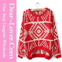 Rhombus geométrica de invierno Rojo Retro tejer prendas de vestir