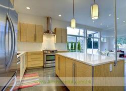 Casa acolhedora cozinha com armários de laminado bege suave (WH-D175)