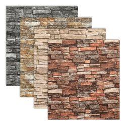 Mousse de briques 3D Adhésif de papier peint Motif en pierre mur autocollant pour revêtement mural