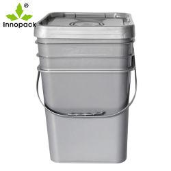 Farbiger quadratischer Plastik 20L Buckets schwarze Farbe mit Kappe