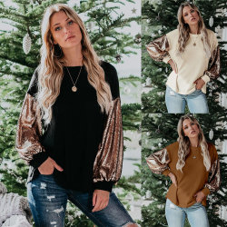 Новые осенью и зимой горячей стиле моды пайетками контрастной вышивкой ослабление свитер верхней части All-Match T рубашки женщин одежду леди одежды