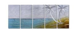 Marin Tropical Cocotier Métal 3D de l'huile à la main peinture Arts mural