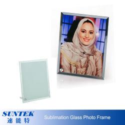 La sublimación en blanco el marco de fotos de cristal con soporte para la decoración