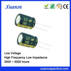 100V 3.3UF Conexión Radial de condensadores electrolíticos de aluminio